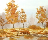 riverside landscape with autumn trees 637