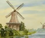 windmill landscape painting 651