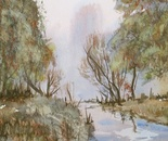 small river and trees painting 691