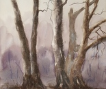 old trees near the water painting 603