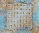 Doors of serenity - 'no beginning no end' - size 39.3 x 39.3 inches on canvas - Mixed media technique revisited on canvas of the French contemporary artist Tapiezo, sand, steel, natural pigment of Roussillon in Provence – Luberon Vaucluse