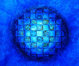 Blue Planet - Expansion  - size 120 x 120 cm on canvas - Mixed media technique revisited on canvas of the French contemporary artist Tapiezo, sand, steel, natural pigment of Roussillon in Provence – Luberon Vaucluse