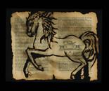 A horse gallops