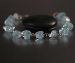 Rough Aquamarine Bracelet in Sterling Silver