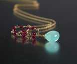 Aqua Chalcedony and Ruby Necklace
