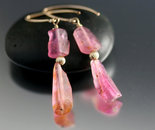 Pink Tourmaline Slice Earrings