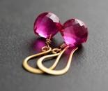 Hot Pink Quartz Earrings