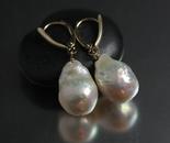 Organic Ripple Pearl Drop Earrings in 14k Gold