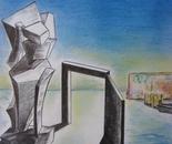 """The Door -La porta, (2012) - Pencil, pastels, 15"""" x 20"""""""