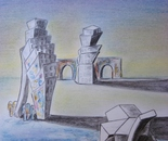 "Dwellings (2012)  -  pencil and pastels on paper, 14"" x 17"""