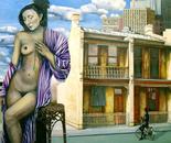 Nostalgic for City's Illusions - 1990  Oil on Canvas, 107/137 cm