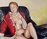 Vaska on Sofa - 2001, Oil on Canvas 122/107 cm