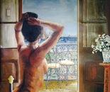 Morning Coffee on Balcony - 1988  Oil on Canvas, 107/137 cm
