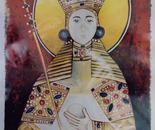 Queen Simonida, Fresco -1992   Oil on Paper, 23/32 cm