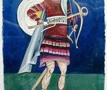 St. Merkurije, Fresco - 1992   Oil on Paper, 23/32 cm