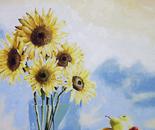Sunflowers & Pears - 1992   Oil on Canvas, 50/60 cm.