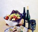 Fish, Wine & Fruit - 1991   Oil on Canvas, 50/60 cm
