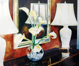 Flowers & Mirror - 1992   Oil on Canvas, 60/50 cm