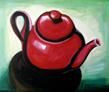 The Red Tea Pot - 1998   Oil on Canvas, 107/92 cm