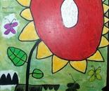 boy alkaf, sun flower & butterfly, mixed on canvas, 80 x 60 cm, 2012