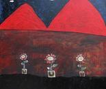 boy alkaf, three flower pots, 100 x 100 cm, acrylic on canvas, 2012