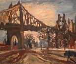 03 Blue dog and Queens Bridge at sunset..Oil on canvas. 2013 New York. 40x27in