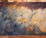 07 Childhood in the wool Blue Dog. Oil on canas. 2013 NYC. 144 by 70 inches(four canvases 36 by 70 inches). 365?177 cm.
