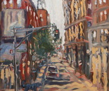14 Blue dog and Lafayette Street. Oil on canvas. 2013 New York. 36'x27'.