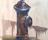 15 Blue dog and the fire hydrant. Oil on canvas. 2013 New York. 36x27in