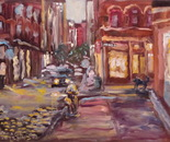 16 Blue dog and twilight Prince Street. Oil on canvas. 2013 New York. 36x27in