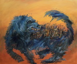 Blue Dog like building 100x84 cm(39x33 inch). Oil on canvas. 2012.