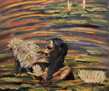 Collecting water lilies. 73x68. cm (28x68 inch). Oil on canvas. 2012.