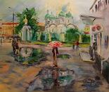 McDonald's number 5. Sukharevskaya Square.Trinity Church. Oil on canvas 120?92cm(47x36 inch) 2012