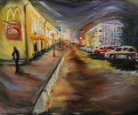 McDonald's number 10.Old Arbat Street. Series 12 McDonald Moscow. Oil on canvas 120?92cm(47x36 inch) 2012.