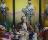EGGS & BACON oil on canvas  150 cm x 150 cm