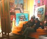 LES COLLECTIONNEURS oil on canvas 200 cm x 200 cm