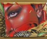 """dixon / """"Carcass"""" / 47x34cm / spray paint and acrylic on food tray / 2013"""