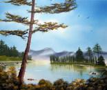 Pine on mountain lake