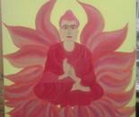 sitting Buddha in red lotus flower