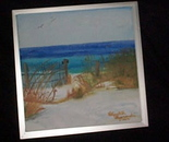 Private Beach WC on canvas in floater frame