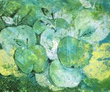 GREEN APPLES Acrylic and ink