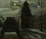 HINDU TEMPLE IN MOON LIGHT