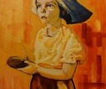Potato peeling girl  70x50 acr 2014