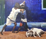 Fighting Puppies 90x60 acr 2013