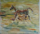 Horses in sunrise oil 40x35 2013