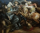 Realization of Leonardo's lost painting -The Battle of Anghiari 120x90 acr 2013