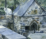 10. Holy Water and cat at Xenophon Holy Monastery: Oil on canvass board 24x30 cm