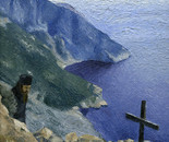 20. Monk in the desert of Mount Athos: Oil on canvass board 24x30 cm