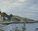 21. Harbour of Konstamonito Holy Monastery: Oil on canvass board 24x30 cm
