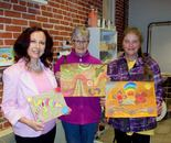 Natalya B. Parris with her students and their art; Art Around Us class at the Gaithersburg Arts Barn on 10/5/2015